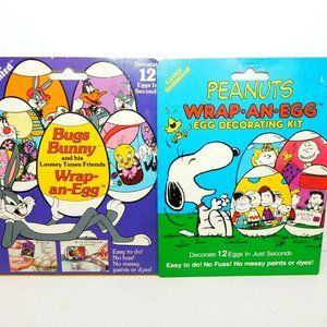 VTG 80s Wrap an Egg Easter Kit Peanuts Bugs Bunny